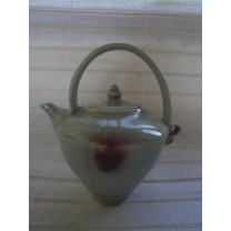 Small Celadon Teapot With Copper Flash by Bridget Drakeford