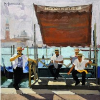 Gondoliers on the Riva by Jack Morrocco