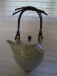 Celadon Porcelain Teapot  With Cane Handle And Silver Knob